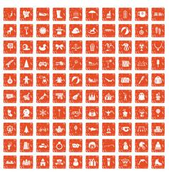100 children icons set grunge orange vector image