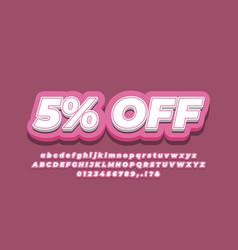 5 percent sale discount promotion 3d pink design vector