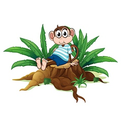 A tired monkey sitting above the wood vector