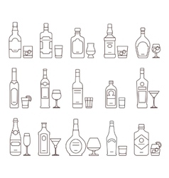 Alcohol drink beverages outline icons bottles and vector image