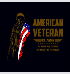 american veteran soldier with american flag vector image