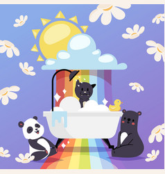 animals taking bath cute vector image