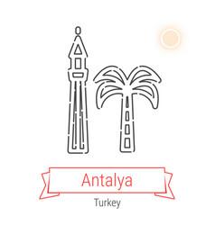 Antalya turkey line icon vector