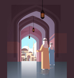 arab people coming to nabawi mosque building vector image