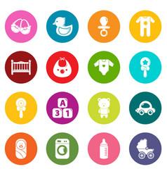 baby born icons set colorful circles vector image