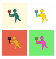 Badminton player in action logo collection vector