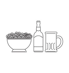 Beer Bottle Mug Bowl Potato Chips vector image