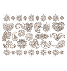 Big set of indian floral ornaments back vector