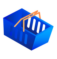 blue shop basket icon isometric style vector image