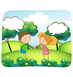 Boy and girl in the park at daytime vector
