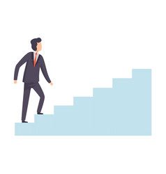 businessman moving up career ladder business and vector image
