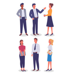 Businesswomen and businessmen with different style vector