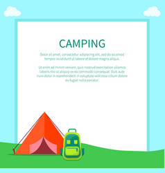 camping accessories rucksack and a-frame tent vector image