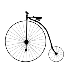 Cartoon retro bicycle on a white background Flat vector image