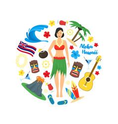 cartoon symbol of hawaii round design template vector image