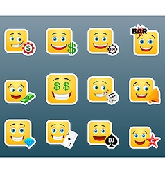 Casino smile stickers set vector image