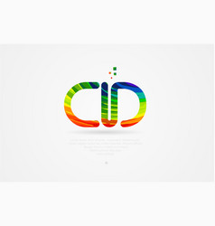 Cd c d rainbow colored alphabet letter logo vector