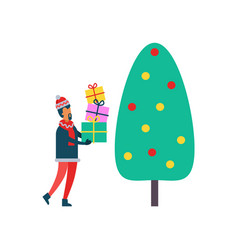 christmas tree and person with presents vector image