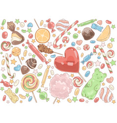 confectionery products delicious desserts vector image