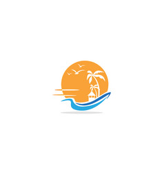 cottage beach resort palm tree logo vector image