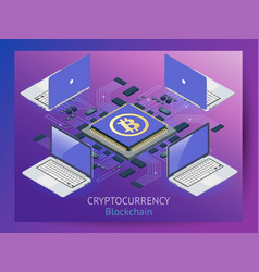 Cryptocurrency and blockchain isometric vector