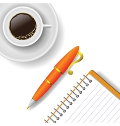 cup of coffee and pen vector image