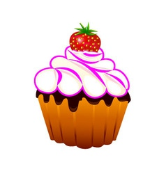 cupcake with strawberriess vector image