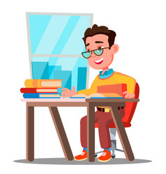 cute child in glasses sitting at a desk in a vector image