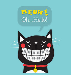Cute laughing black funny orthodontics cat vector