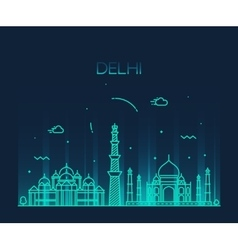Delhi City skyline Trendy line art vector