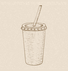 Drink in paper cup with drinking straw hand drawn vector