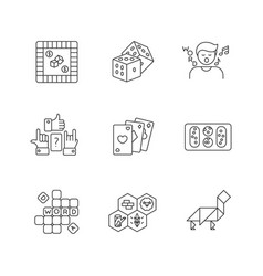 Entertaining games pixel perfect linear icons set vector
