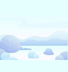 Fantasy simple cartoon winter landscape modern vector