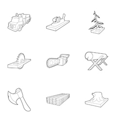 Felling icons set outline style vector