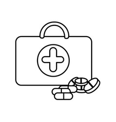 Figure suitcase health with treatment icon vector