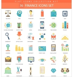Finance color flat icon set Elegant style vector