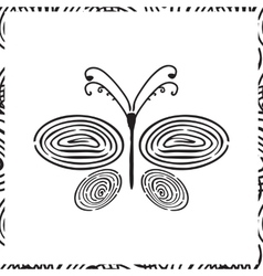 Fingerprint hand drawn butterfly vector image