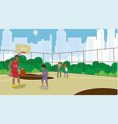 Flat basketball active lifestyle train vector