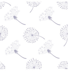 floral seamless pattern with dandelions flying vector image