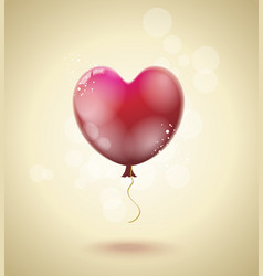 flying red ballon in form a heart vector image