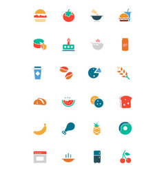 Food and drinks colored icons 3 vector