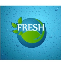 Fresh - nature with green leaf on wall glass vector