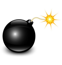 glossy black bomb vector image