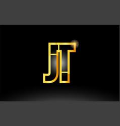 Gold black alphabet letter jt j t logo vector