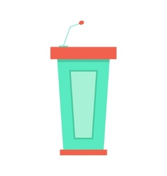 green trapezoidal tribune icon with microphone vector image