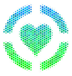 Halftone blue-green casino hearts icon vector