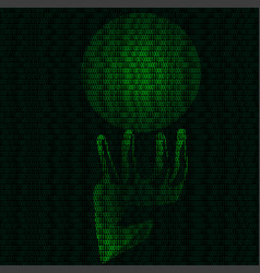hand and magic sphere of binary code vector image