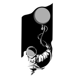 hand drawn astronaut with a balloon in his hand on vector image