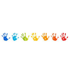 Hand rainbow print isolated on white background vector
