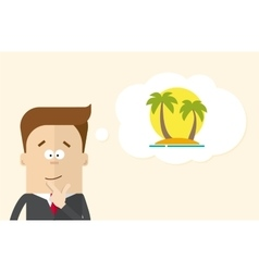 Happy businessman or manager imagines vacation on vector